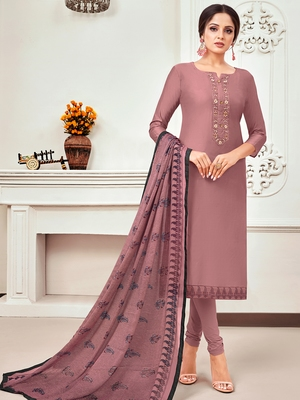 Light-Pink Embroidered Chanderi Silk Salwar