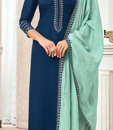 Navy-Blue Embroidered Blended Silk Salwar