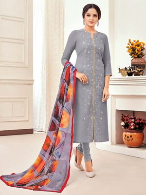Grey embroidered chanderi silk salwar