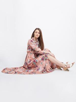 Pink printed georgette maxi-dresses