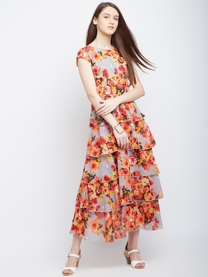 Multicolor printed polyester maxi-dresses