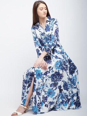 White printed polyester maxi-dresses