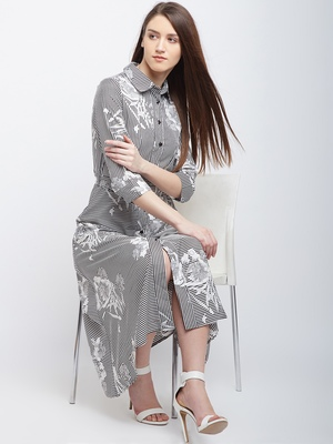 White printed polyester long-dresses