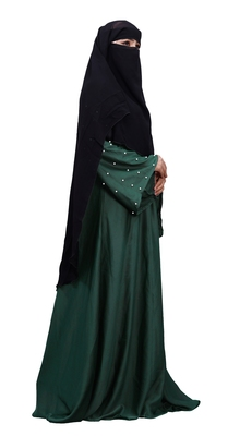 Justkartit Plain Black Long Layer Niqab Scarf Hijab For Women