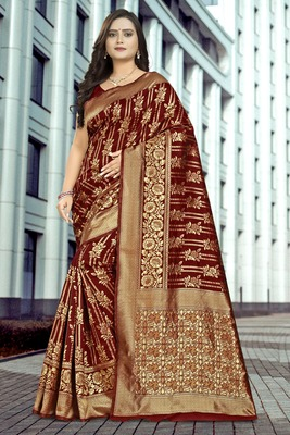 Brown printed jacquard saree with blouse
