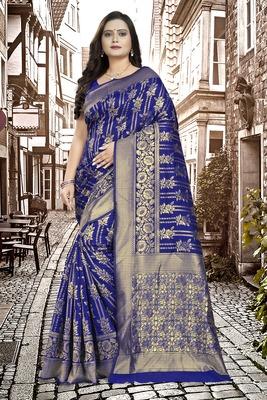 Royal Blue Printed Jacquard Saree With Blouse