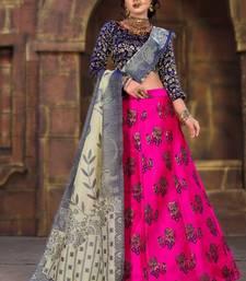 Pink woven art silk semi stitched lehenga