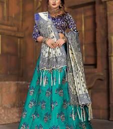 Light-blue woven art silk semi stitched lehenga