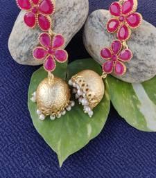 Pink crystal jhumkas