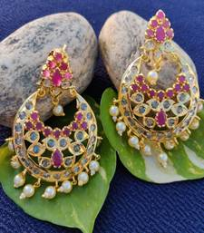 Pink crystal chandbali
