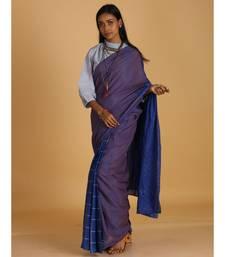 cerulean blue block printed saree