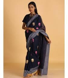 navy blue block printed sarees