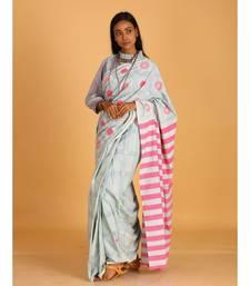 pastel blue block printed saree