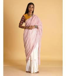 offwhite block printed saree