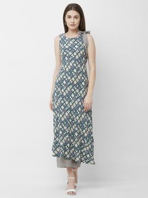 Women's Blue Printed Rayon Kurta Palazzo Set
