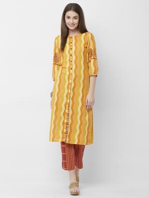 Women's Orange Cotton Printed Kurta-Pant Set