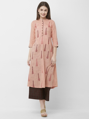 Women's Pink Embroidered Cotton Kurta Palazzo Set