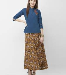 Women's Blue Embroidered Cotton Top Skirt Set