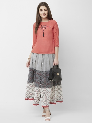 Women's Pink Embroidered Cottton Top Skirt Set