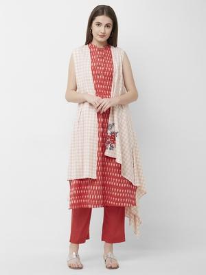 Women's Red Printed Kurta-Pant Cotton Ikat Set