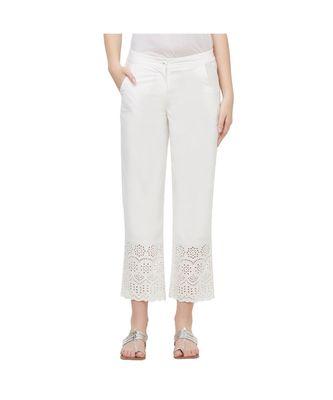 NAARI White 30'S Twill Embroidered Ethnic Wear Women's Cigarette Pants