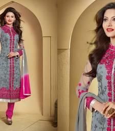 Buy Grey embroidered Net semi stitched salwar with dupatta collar-neck-design online
