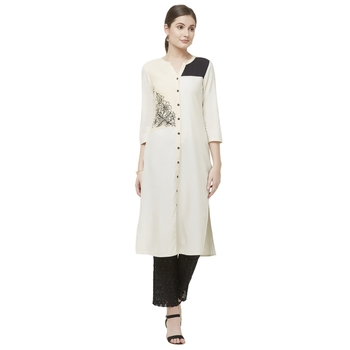 White embroidered viscose kurtas-and-kurtis