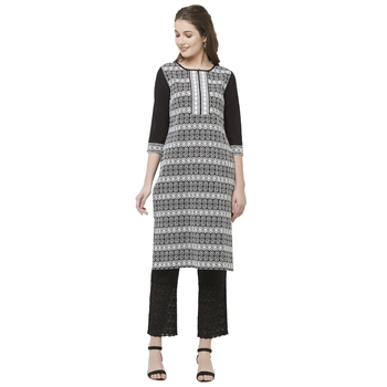 Black embroidered cotton kurtas-and-kurtis