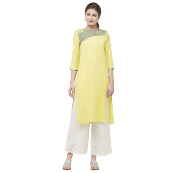 Yellow embroidered viscose kurtas-and-kurtis