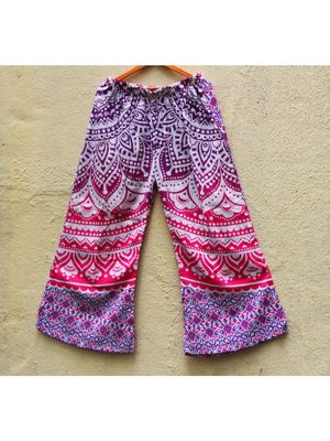 White And Pink Coloured Base Designer Printed Cotton Palazzo Pant