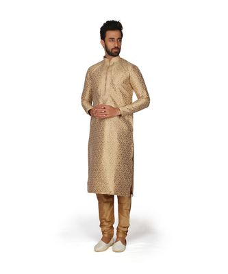 Off White Embroidered Brocade Kurta Pajama