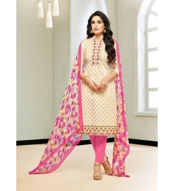 Cream & Pink Chanderi Silk Women's Unstitched Salwar Suit