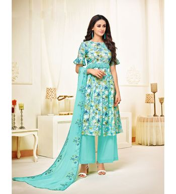 Turquoise Cotton Satin Women's Unstitched Dress Material