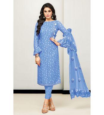 Blue Cotton Satin Women's Unstitched Dress Material