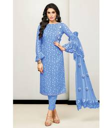 Blue Cotton Satin Women's Unstitched Dress Material