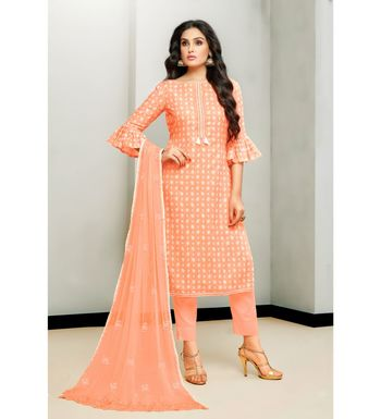 Orange Cotton Satin Women's Unstitched Dress Material
