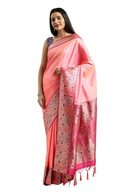Baby pink woven silk blend saree with blouse