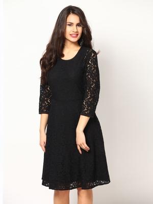 Black Net material rich look knee length western kurti