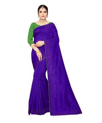 blue plain silk blend saree with blouse