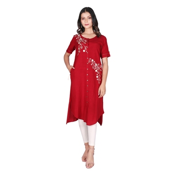 Women's Maroon Rayon Embroidered Front Slit Kurti