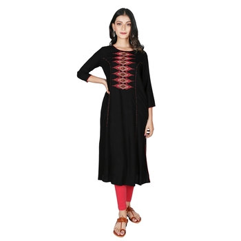 Women's Black Rayon Embroidery Straight Kurti