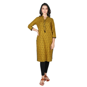 Women's Mahendi Green Cotton Printed Straight Kurti with Tassels