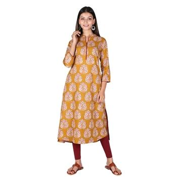 Women's Mustard Cotton High Low Printed A-line Kurti