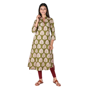 Women's Olive Green Cotton High Low Printed A-line Kurti