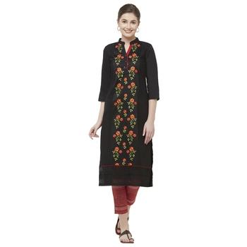 Black embroidered cotton kurtas-and-kurtis