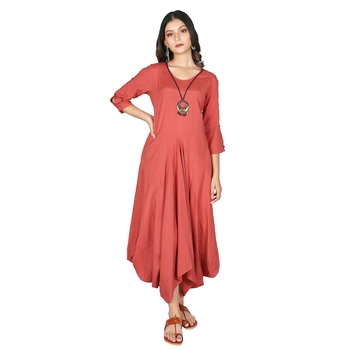 Women's Mineral Red Rayon Flex Long Dress with Open Sleeves