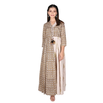 Women's Olive Green Cotton Printed Flared Double Layered Dress