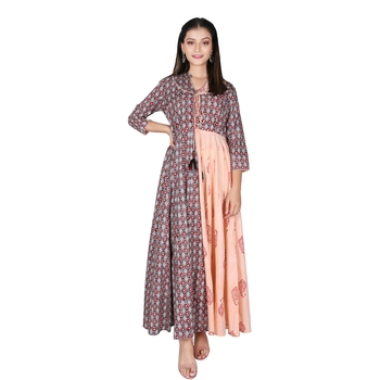 Women   s Peach Grey Cotton Printed Flared Double Layered Dress