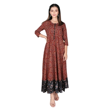 Women's Maroon Cotton Printed Flared Long Dress