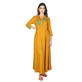 Women   s Mustard Rayon Staple Embroidery Flared Dress